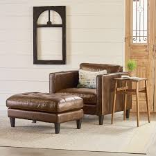 Tufted Upholstered Chairs Upholstered Chair And Ottoman With Button Tufting By Magnolia Home