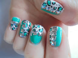 turquoise leopard print with studs easy glow in the dark nail art