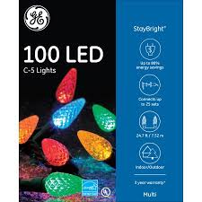 ge 100ct staybright c5 led christmas light string set multi