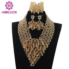 chunky necklace set images New 2017 chunky necklace set luxury champagne gold african wedding jpg
