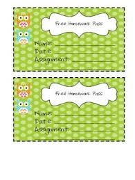 Owl Themed  Free Homework Pass  Freebie    Stacie barney  for completed
