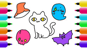 halloween drawing coloring pages kids draw cat