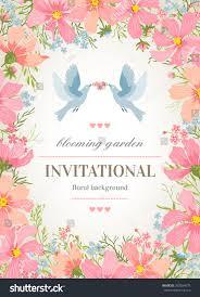 Invitational Cards Wedding Invitation Card Flower Frame Around Stock Vector 203284579