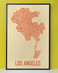 Map Of Los Angeles Beach Cities by Los Angeles Neighborhood Type Map Posters U0026 Prints
