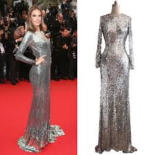 silver sequins long sleeves formal evening prom maxi women lady