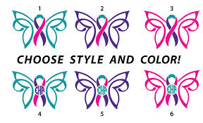 custom awareness ribbons custom thyroid cancer survivor awareness ribbon butterfly with