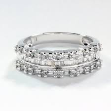 10k wedding ring 1 2 ctw wedding band with dound and baguette diamonds in 10k white
