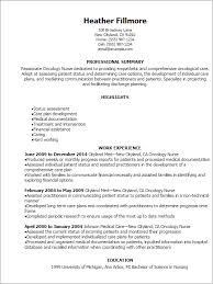 Registered Nurse Resume Sample by Spectacular Inspiration Oncology Nurse Resume 4 Free Oncology