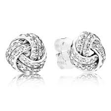 silver stud earrings uk pandora sparkling knots stud earrings 290696cz from gift and