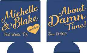 wedding koozie about damn time custom wedding koozie personalized odysseycustom
