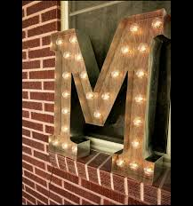 light up letter m sign rustic industrial marquee lighting w