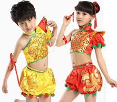 costume new year child yangko costume girl new year stage