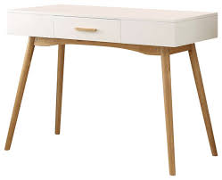 modern laptop writing desk white with natural mid century style