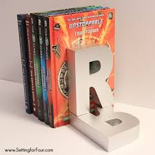 monogram bookends diy monogram bookends for adults and kids setting for four