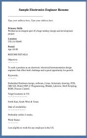 sample electronics engineer resume type your address here type