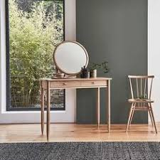 Modern White Small Dressing Table Designs With Round Mirror For - Dressing table modern design