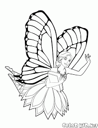 coloring page fairy barbies play