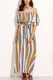 multi stripe print off shoulder casual maxi dress casual dresses