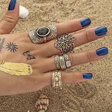 knuckle rings silver images 4pcs set women bohemian vintage silver stack rings above knuckle jpg