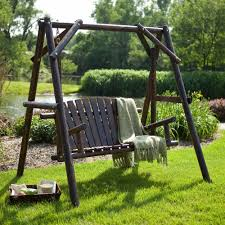 Outdoor Patio Swing by Wood Porch Swing Rustic Log Frame Outdoor Patio Yard