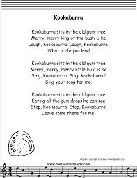 kookaburra lyrics printout midi and