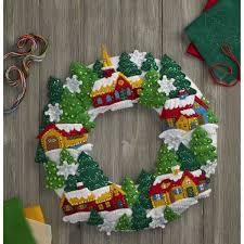 bucilla seasonal felt home decor snow village wreath