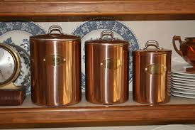three 3 vintage copper canisters de la cuisine 1950 u0027s 1960 u0027s gold