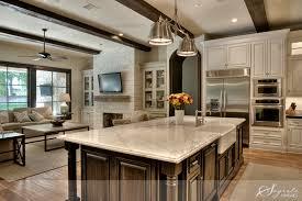 Open Floor Plan Kitchen Designs Monochromatic Scheme White Carrera Island Cabinet Finishes Open