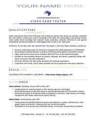 Testing Resume Sample by Video Game Tester Sample Resume