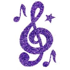 purple glitter treble clef tattoo tattoo sticker