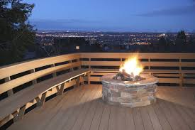 floating fire pit frugal aint cheap diy floating deck out backyard is on a slope