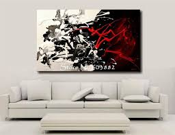 5 piece canvas wall art hand painted palette knife oil 100 hand painted discount large black white and red abstract art
