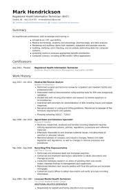 Health Information Management Resume Examples by Medical Resume Samples Visualcv Resume Samples Database