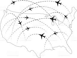 Vector Usa Map by Air Routes With Black Plane Icons On Usa Map Stock Vector Art