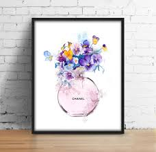chanel bottle flowers print coco chanel perfume digital art