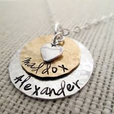Custom Charm Necklaces Layered Love Mom Necklace Hand Stamped Necklace