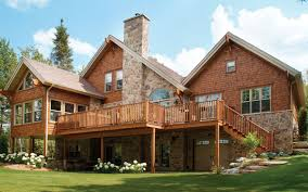 house with basement outside and log rustic homes landscaping