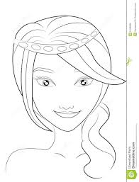 girls face coloring page stock illustration throughout pages