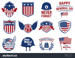 Design Of American Flag Memorial Day Set Of Emblems With American Flag Eagle Design