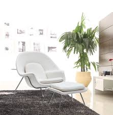 White Chair With Ottoman Mod Imports Eero Saarinen Style Womb Chair And Ottoman Set