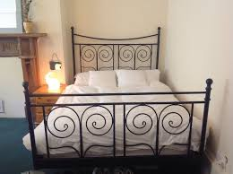 ikea black double metal french bed frame bed stead in north