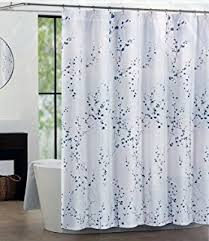 Silver And White Shower Curtain Amazon Com Tahari Home Shower Curtain Sprigs In Blue And Silver