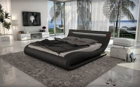 corsica contemporary black leatherette bed with headboard lights