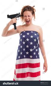 Flag Dress Young Woman Dress American Flag Going Stock Photo 45069919