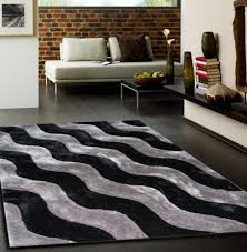 Furry Black Rug Black Living Room Rugs Pine Wooden Low Base Legs Support Living