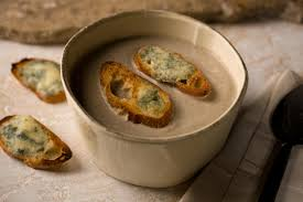 creamy mushroom soup with blue cheese toasts recipe chowhound