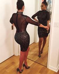 2017 women see through dresses patchwork sequin casual style black