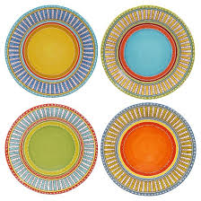certified international valencia glazed ceramic dinner plates