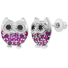 back earrings for toddlers rhodium plated fuchsia hot pink cz owl back earrings toddlers