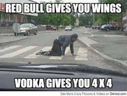 Vodka Meme - red bull gives you wings vodka gives you 4 x 4 funny drunk meme